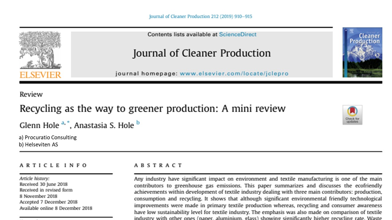 Recycling as the way to greener production